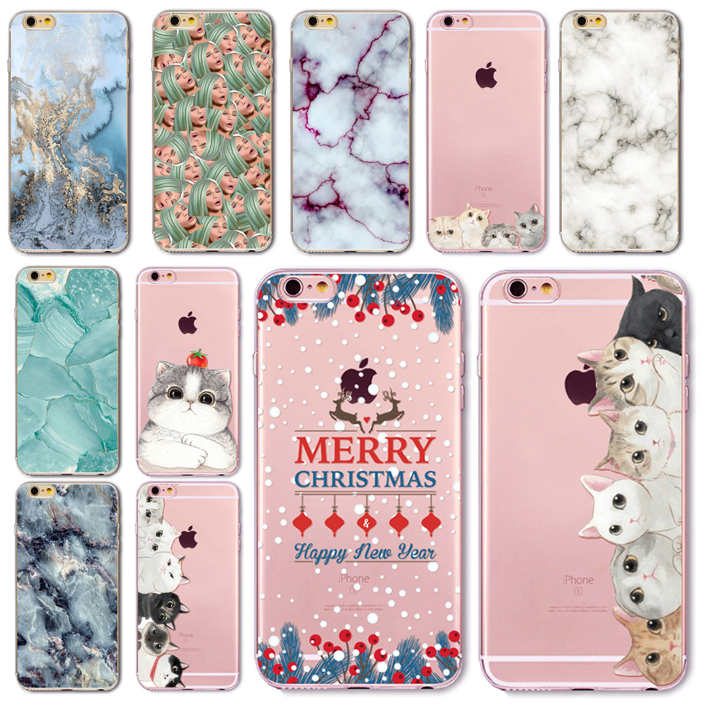 Soft TPU Silicon Phone Case for iPhone 6 6s 4.7inches Cute cat Marble Image Painted Landscape Pattern Back Case fundas