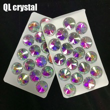 QL crystal  AB 18mm Ice flower Sew On Flatback Glass Crystal Rhinestone For DIY Wedding dress shoes bags clothes accessories