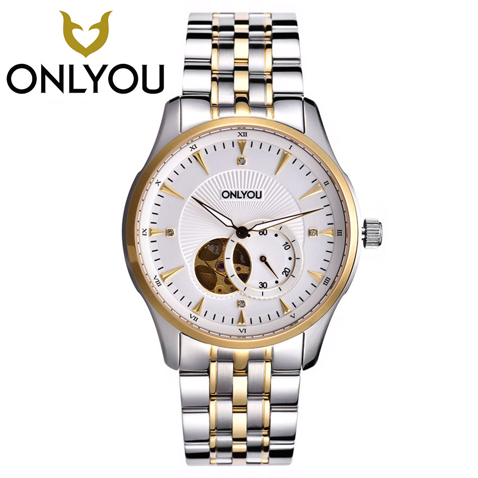 ONLYOU Golden Watches Men Mechanical Watch Stainless Steel Top Brands Luxury Man