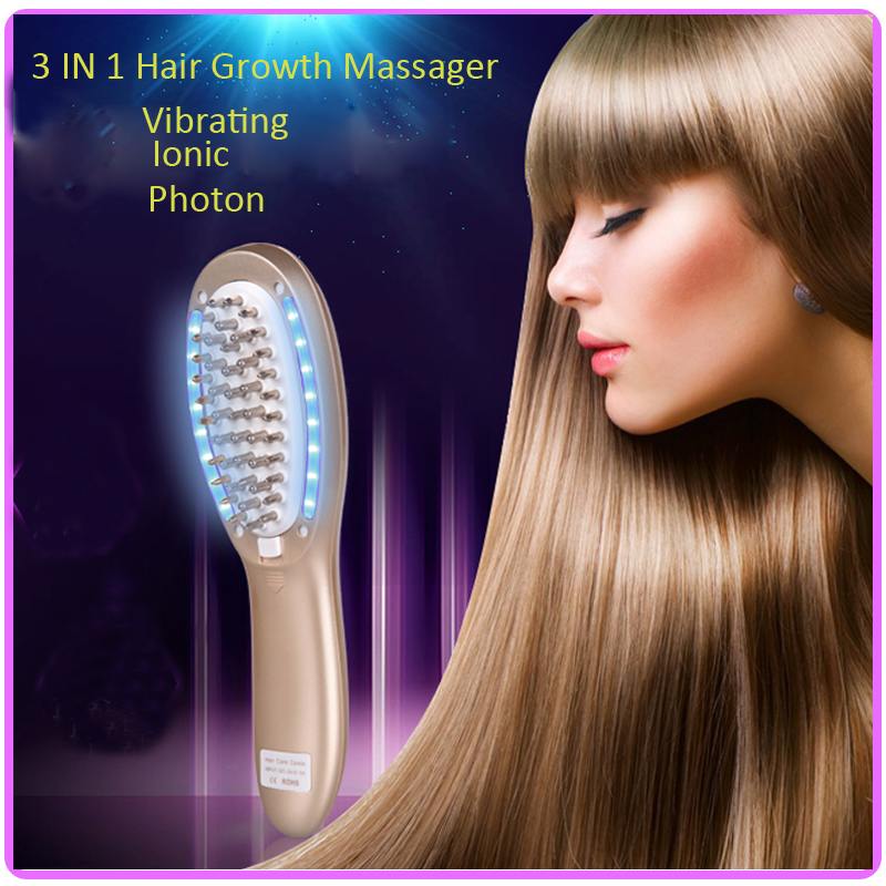 ФОТО 3 IN 1 Vibration Ionic Led Photon Therapy Electric Hair Growth Massager Comb For Hair Loss Treatment