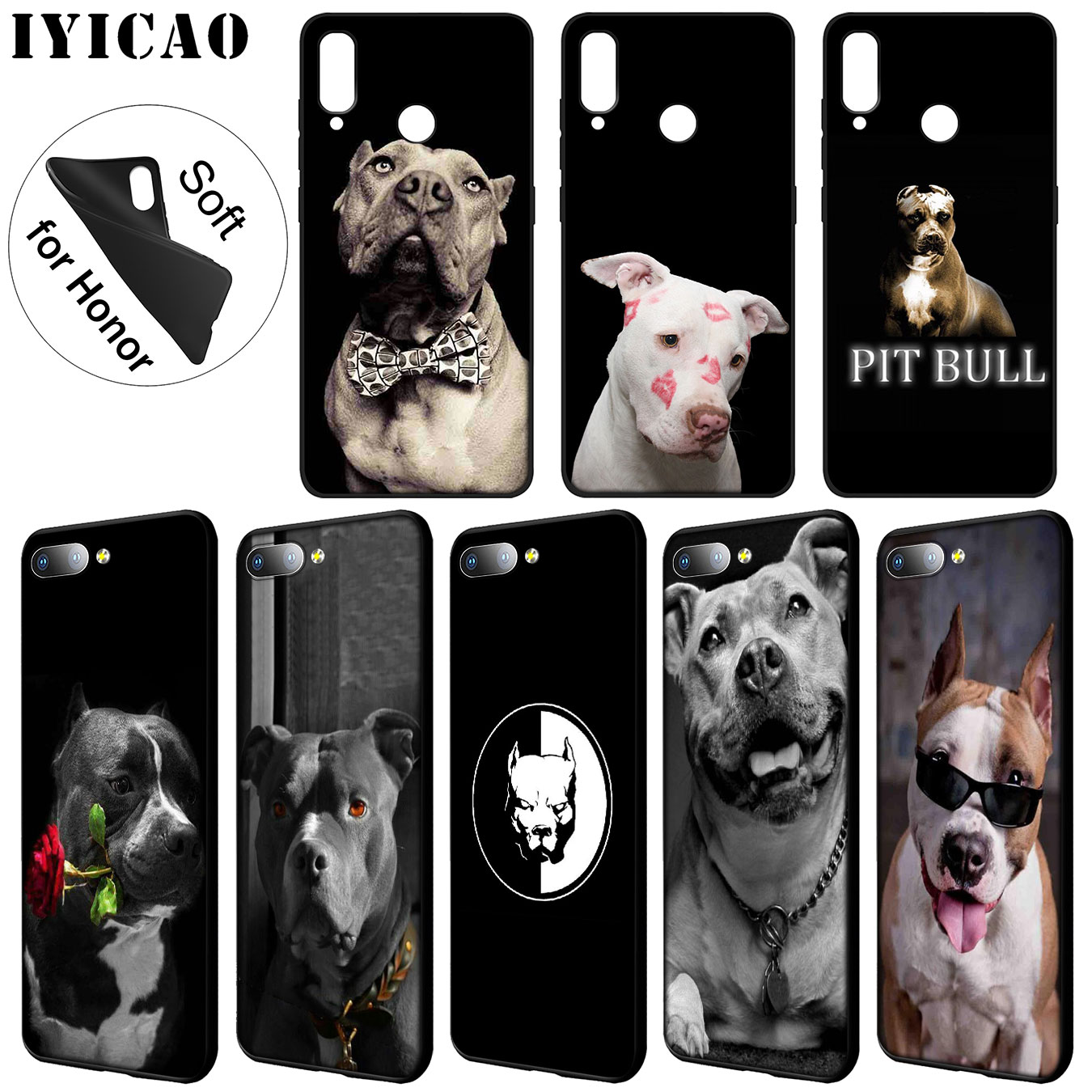 IYICAO Pit Bull Lovely Pet Dog Pitbull Black Soft Case for Huawei Y9 Y7 Y6 Prime 2019 <font><b>Honor</b></font> 20 8C 8X 8 <font><b>9</b></font> 9X 10 <font><b>Lite</b></font> 7C 7X 7A Pro image