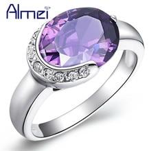 Almei Anillos para las mujeres de plata azul piedra CZ circón anillo Vintage de cristal de la joyería Anillos Retro Anel Feminino Joyeria J126