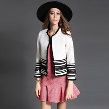 2016 new European style fashion women's clothing for fall winter beaded mosaic slim short wool jacket