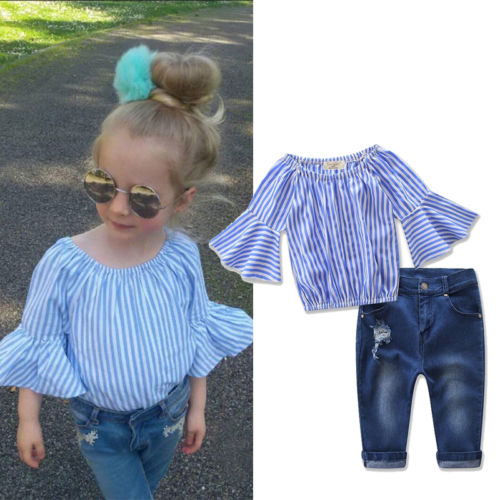 2Pcs sets Toddler Baby Kids Girls Flare Sleeve Striped T-shirt Tops+Hole Jeans Pants 201 ...