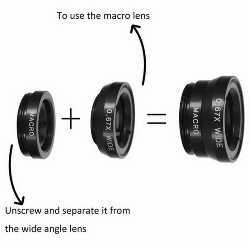 3 in 1 with Wide Angle Macro Fisheye Lens for Universal Mobile Phones Microscope Ikeacasa Free Shipping