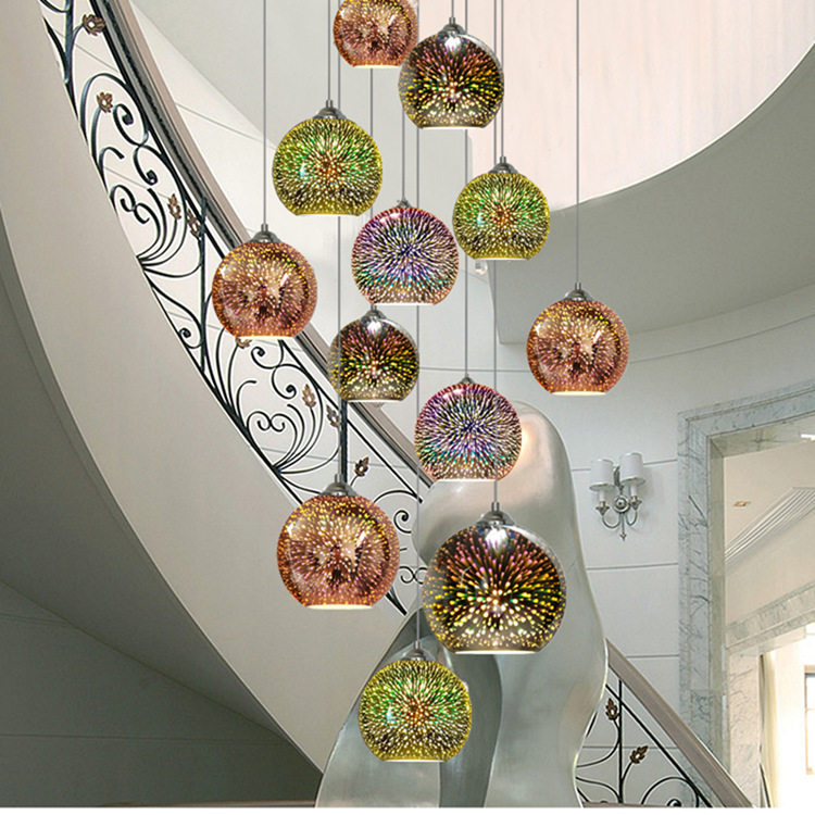 Image 5 - LuKLoy LED Pendant Lights Mirror Glass Ball Firework Lampshade Pendant Lamp for Loft Restaurant Bar Dining Room Kitchen Island-in Pendant Lights from Lights & Lighting