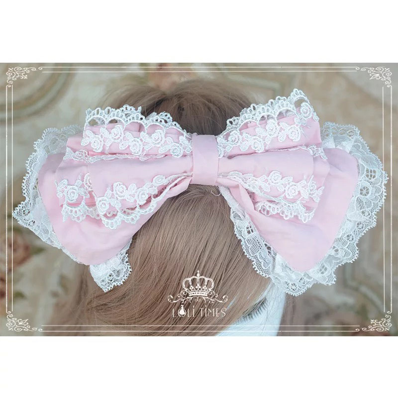 Girls Sweet Lolita Princess Costume Hairband Pink White Lace Hair Headpiece Women Bridal Wedding Bowknot Cos Embroidery Headwear