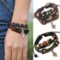 Unisex Music Beads Handmade Knitted Leather Adjustable Bangle Wristband Bracelet
