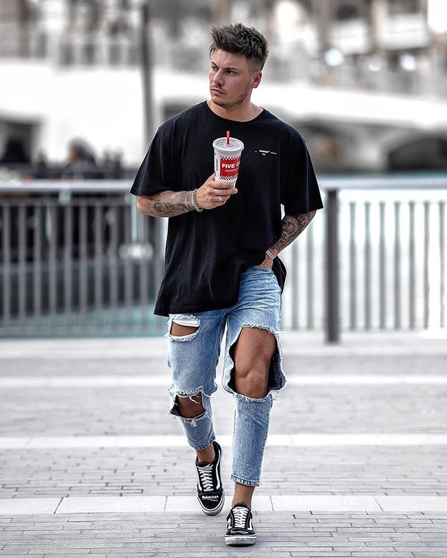 Big Size Men's Ripped Skinny Jeans Knee Big Holes Pants Street Style For Youngth