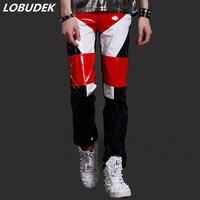 PU Leather Tide Men Pants Punk Style Rock DJ Motorcycle Long Pants Trousers Performance Costumes Prom