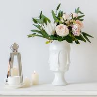Nordic White matt Ceramic Face Vase Modern Human Head Living Room Creative Flower insert Device Home Decorative Flower Pot Jar