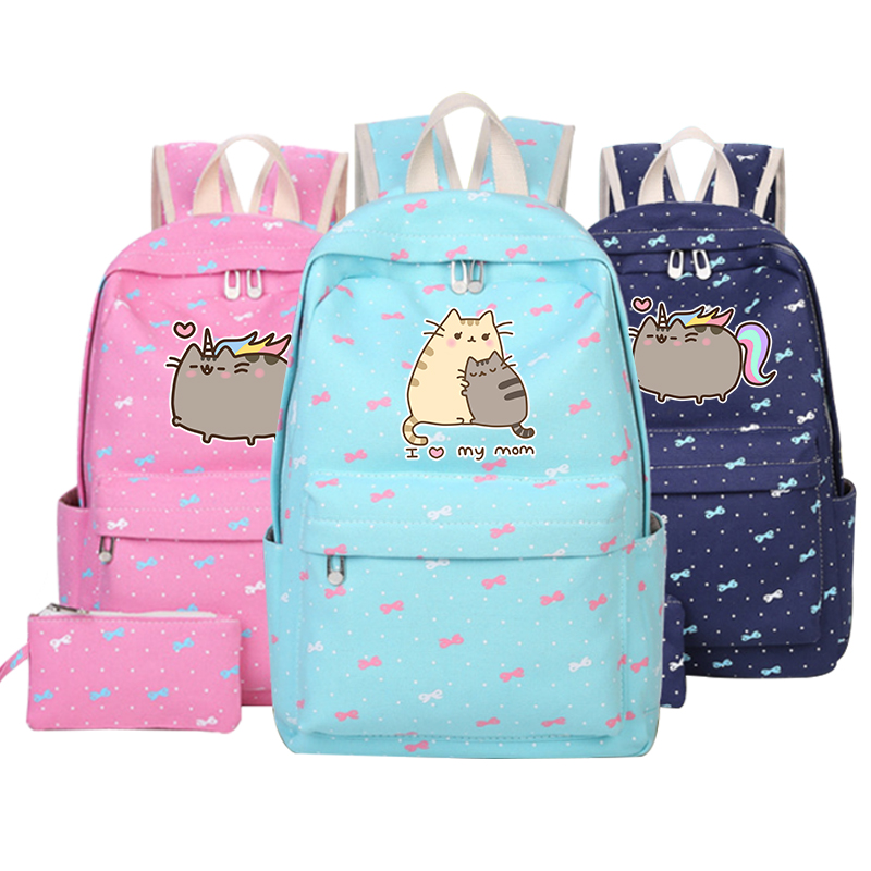 2018 New Arrival Pusheen Cat Printing Backpack Kawaii School Bags Cat Unicorn Women Shoulder Bags Candy Color Mochila Feminina high q cartoon rick and morty 2017 new arrival backpack students couple printing candy color leisure bags