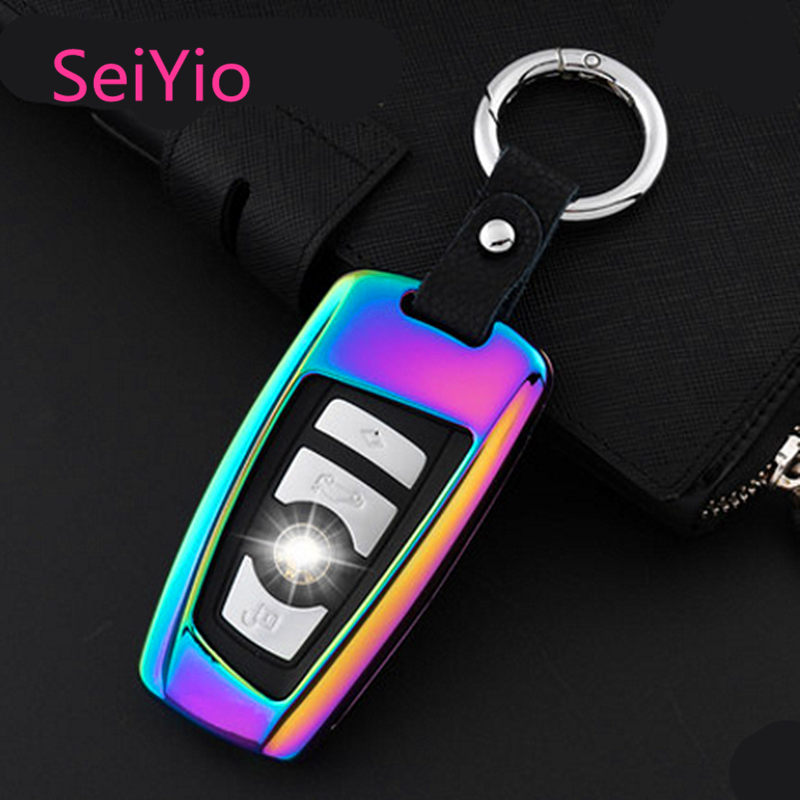 Hot Selling SeiYio Car key ring case cover for BMW Alloy& Leather Creative style car cover for BMW smart key