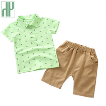 Baby Boys summer clothes Anchor print kids clothes boy set T-shirt+Short Cartoon Baby Sport Suit toddler girls boutique outfits недорого