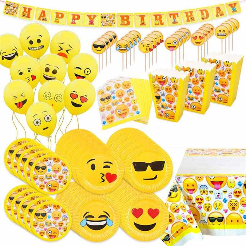 Emoji Thema Cartoon Party Servies Cup Stro Plaat Servetten Candy Box Banner Vlaggen Kid's Verjaardagsfeestje Decoraties Levert
