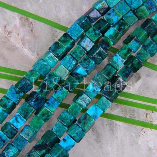 "Free Shipping Fashion Jewelry Cube 6MM Blue Brazilian Azurite Loose Beads String 16"" A461"