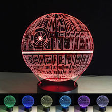 3D Night Light Star Wars Death Star Millennium Falcon USB Touch Switch LED Lighting Gadget Table Lamp Nightlight for Child Gift