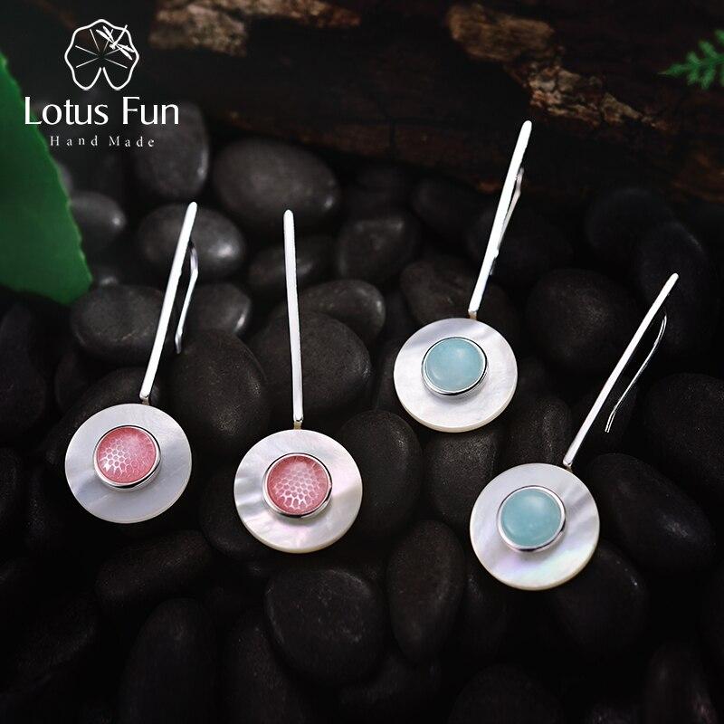 Lotus Spaß Echt 925 Sterling Silber Valentinstag Geschenk Sie Sind Mein Planeten Kreative Design Handgemachtes Feine Schmuck Tropfen ohrringe