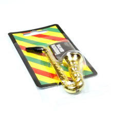 Saxophone Pipe Length 97MM Mental Filter Pipe Tobacco Holder Smoke Smoking Pipe Healthy Water Pipe Hookah Shisha Bong Drop Ship