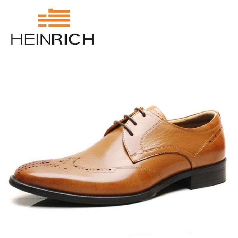 HEINRICH New Brand Mens Business Dress Brogue Shoes For Wedding Party Retro Leather Black Brown Round Toe Derby ShoesHEINRICH New Brand Mens Business Dress Brogue Shoes For Wedding Party Retro Leather Black Brown Round Toe Derby Shoes