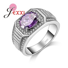 JEXXI Luxury Full White & Purple Cubic Zirconia Crystal Ring Women 925 Sterling Silver Finger Ring Jewelry Size 7 8 9