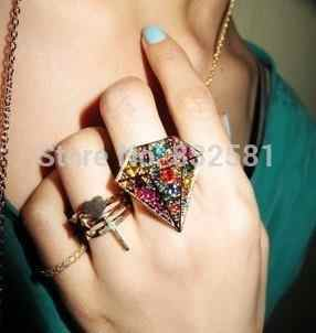 New Fashion ! Wholesales!2019 New Retro Fashion Big Gems Rings jewelry accessories