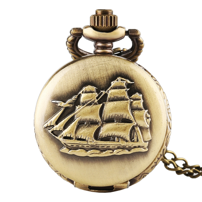 Steampunk Canvas Boat Antique Bronze Women Men Quartz Pocket Watch Vintage Shipping For With Necklace Gifts Reloj De Bolsillo