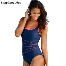 25c898df3c4 Laughting Man 2019 New One Piece Solid Swimwear Female Patchwork Women  Swimsuit Retro Vintage Bathing Suits