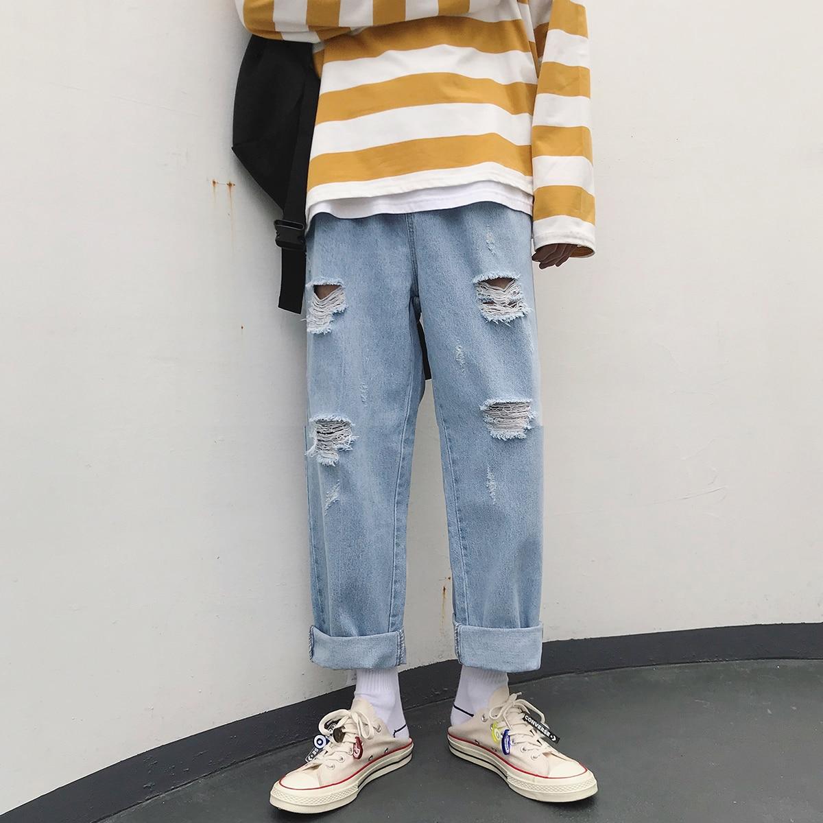 2019 Summer Men's Holes Cowboy Beggar Casual Pants Baggy Homme Cargo Pocket Wash Jeans Blue Biker Denim Mens Trousers S-2XL