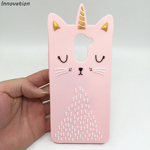 For Huawei Y7 Beard Cat Phone Cases Prime Case Cartoon Kitty Soft Silicone Cover Enjoy 7 Plus Shell