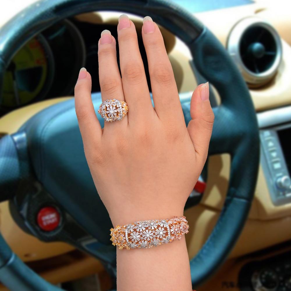 SISCATHY 3 tons AAA zircon cubique Bracelets/bague ensembles de bijoux à la mode incrusté Dubai nigérian mariage ensembles de bijoux pour les femmes filles