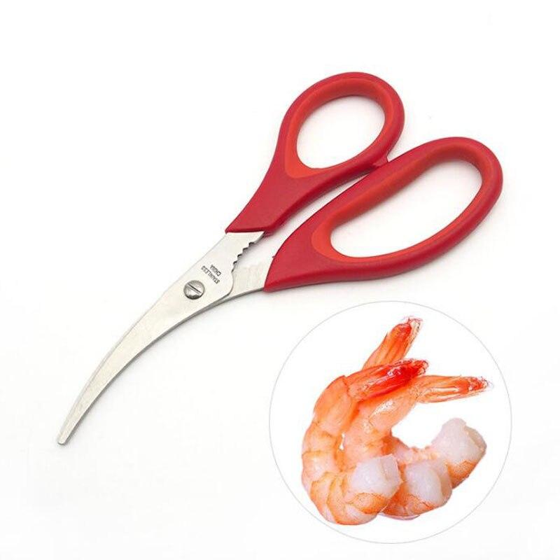 100pcs Creative Shrimp Sausage Scissors Red Plastic Peel