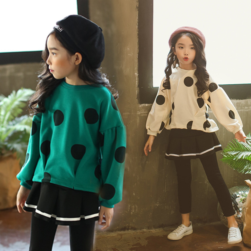 Teenage girls clothes 10 years Dot sport sweatshirts skirt pants autumn long sleeve children tracksuit for girls clothing sets bear leader girls skirt sets 2018 new autumn&winter geometric pattern long sleeve sweater skirt 2pcs knitwear sets for 3 7 years