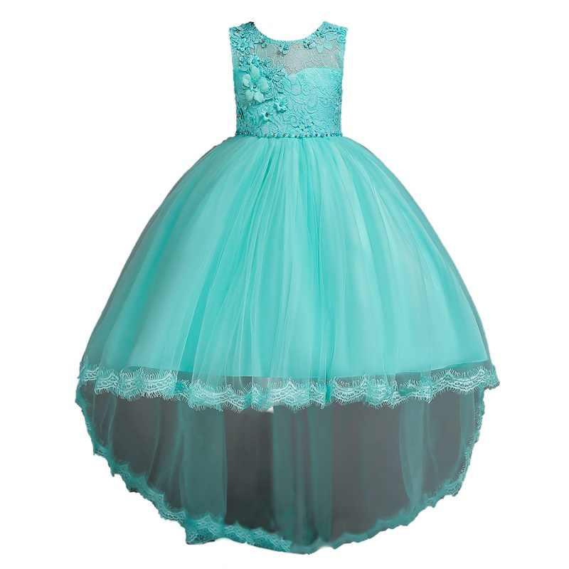 a0fb8ed2937e27c Детская одежда, платье для девочек, Летнее белое кружевное платье принцессы  с длинным шлейфом для