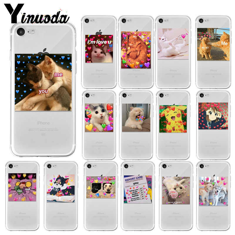 Super leuke kat hond cartoon roze hartvormige U & ME serie HD transparante telefoon case voor iphone 6 7 8 plus X XS XSMax 5s 11