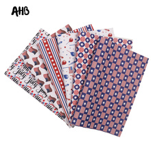 AHB Faux Leather Sheets Flag Printed Synthetic Leather For DIY Hair Accessories Independence Day Handmade Decor Materials цена и фото