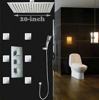 Ultrathin 20 Big Rainfall Shower Faucet Set Brass Thermostatic Mixer Valve + 6pcs SPA Body Sprayer + ABS Handshower