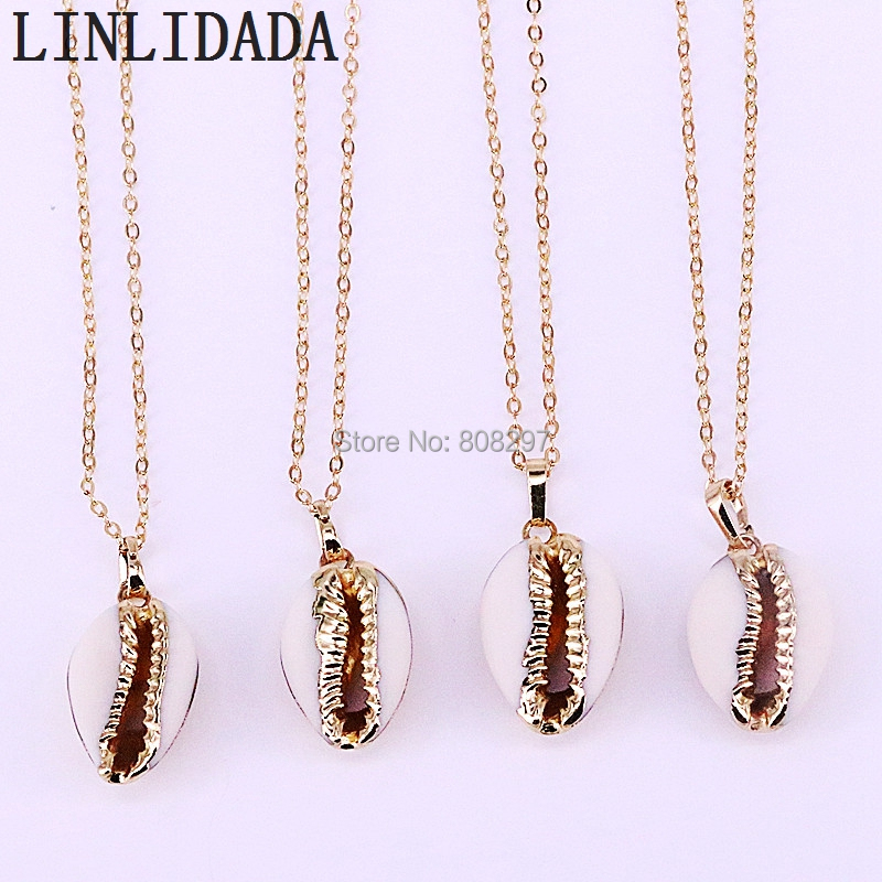 10Pcs Fashion Design Gold Electroplated Conch Shell Shape Pendant Necklaces For Women Jewelry
