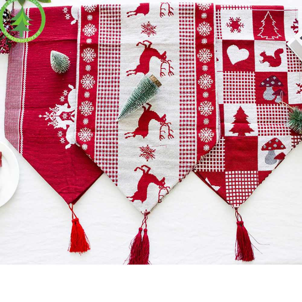 Christmas Xmas Table Runners Reindeer Home Tablecloth Decorative Dining Room