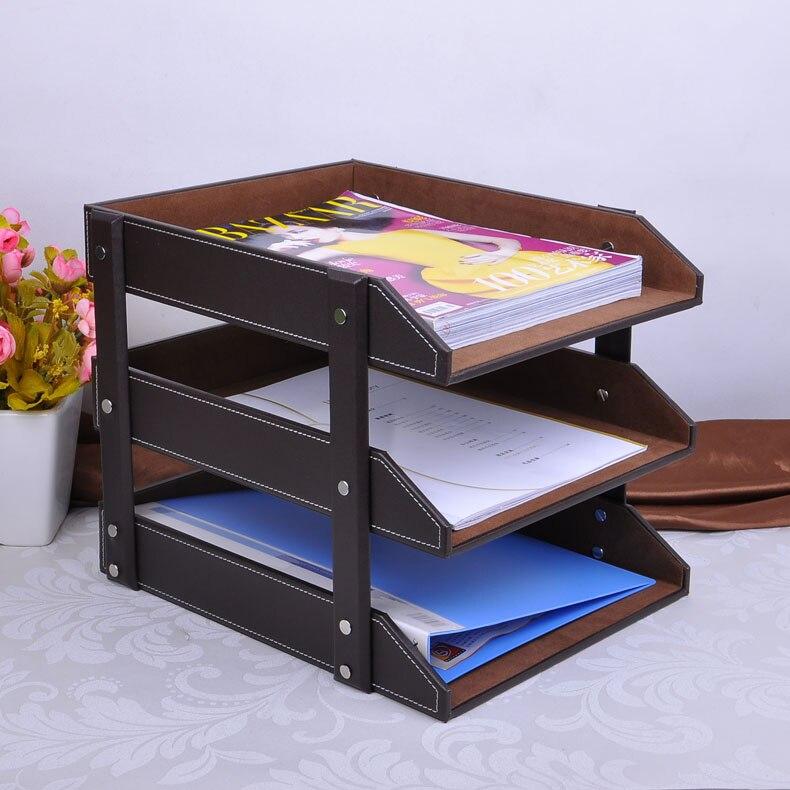 3 couches A4 détachable bureau en bois en cuir document porte-revues plateau classeur fichier support organisateur papier boîte de rangement en bois 211B
