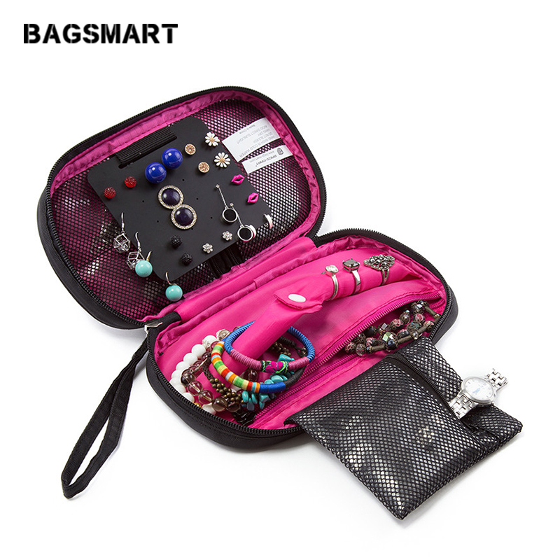 BAGSMARTトラベルバッグ女性化粧品バッグジュエリーホルダーネックレスブレスレットイヤリングポーチバッグジュエリーパッキングバッグ