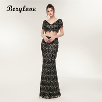 BeryLove Black Sequin Two Piece Mermaid Prom Dresses With Sleeves V Neck 2 Pieces Prom Gowns Sheath Vestidos De Fiesta 2018