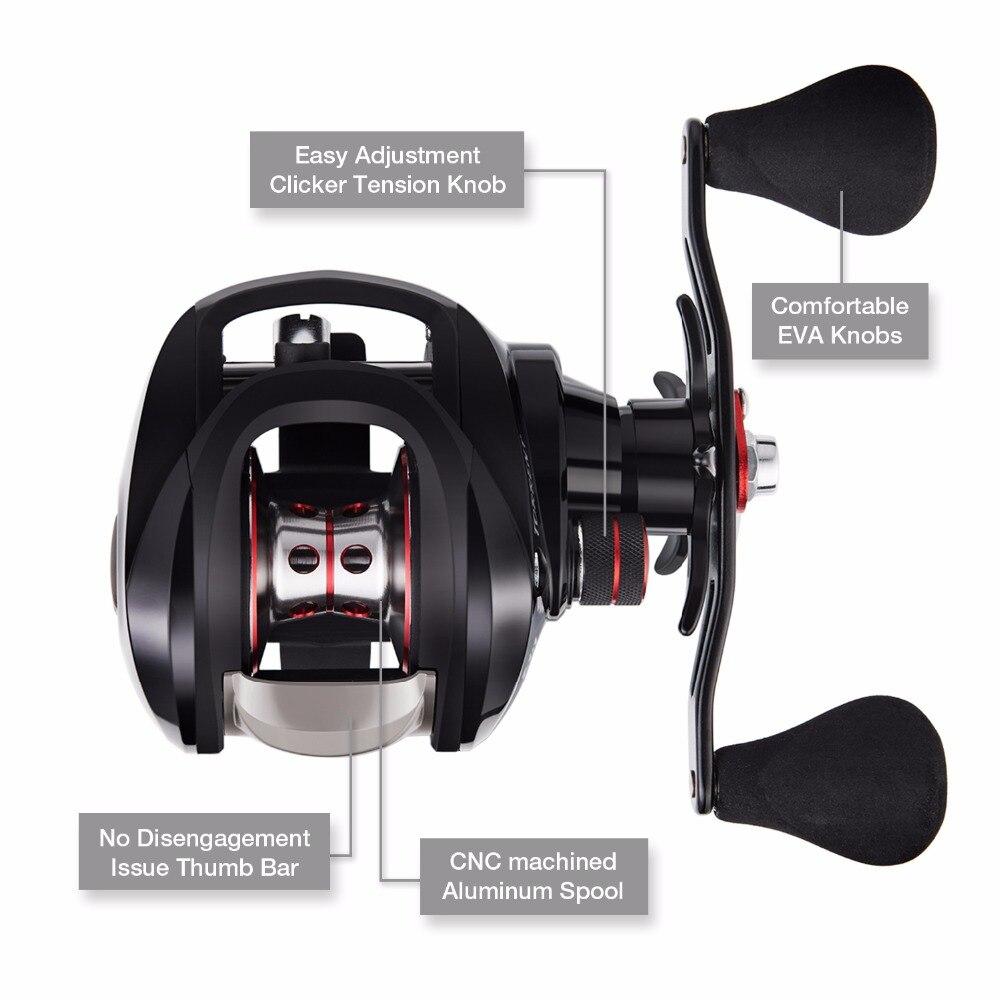 Piscifun Torrent pêche bobine 8.1 kg carbone glisser 7.1: 1 5.3: 1 rapport de vitesse 6 roulements frein magnétique profil bas Baitcasting bobine - 3