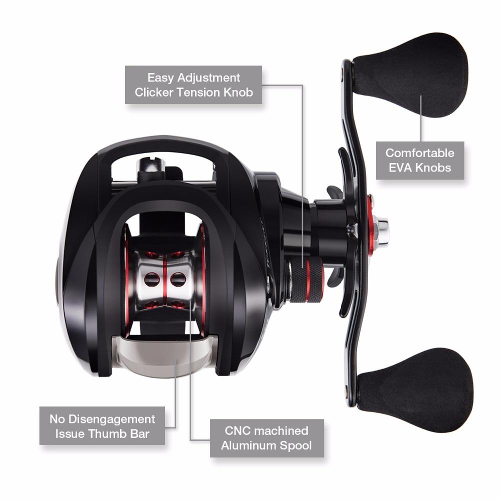 Piscifun Torrent pêche bobine 8.1 kg carbone glisser 7.1: 1 rapport de vitesse 6 roulements frein magnétique profil bas Baitcasting bobine - 3