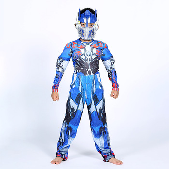 Optimus Prime Bumble Muscle Jumpsuits+ Mask Halloween Costume for Kids Boys Girl The Transformers Movies Carnival Disfraz Mujer