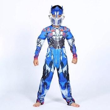Optimus Prime Bumble Muscle combinaisons + masque Halloween Costume pour enfants garçons fille les transformateurs films carnaval Disfraz Mujer