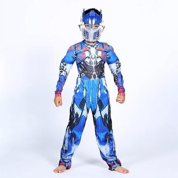 Optimus Prime Bumble Muscular Macacões + Máscara de Carnaval Traje de Halloween para Crianças Meninos Menina Os Transformadores Filmes Disfraz Mujer