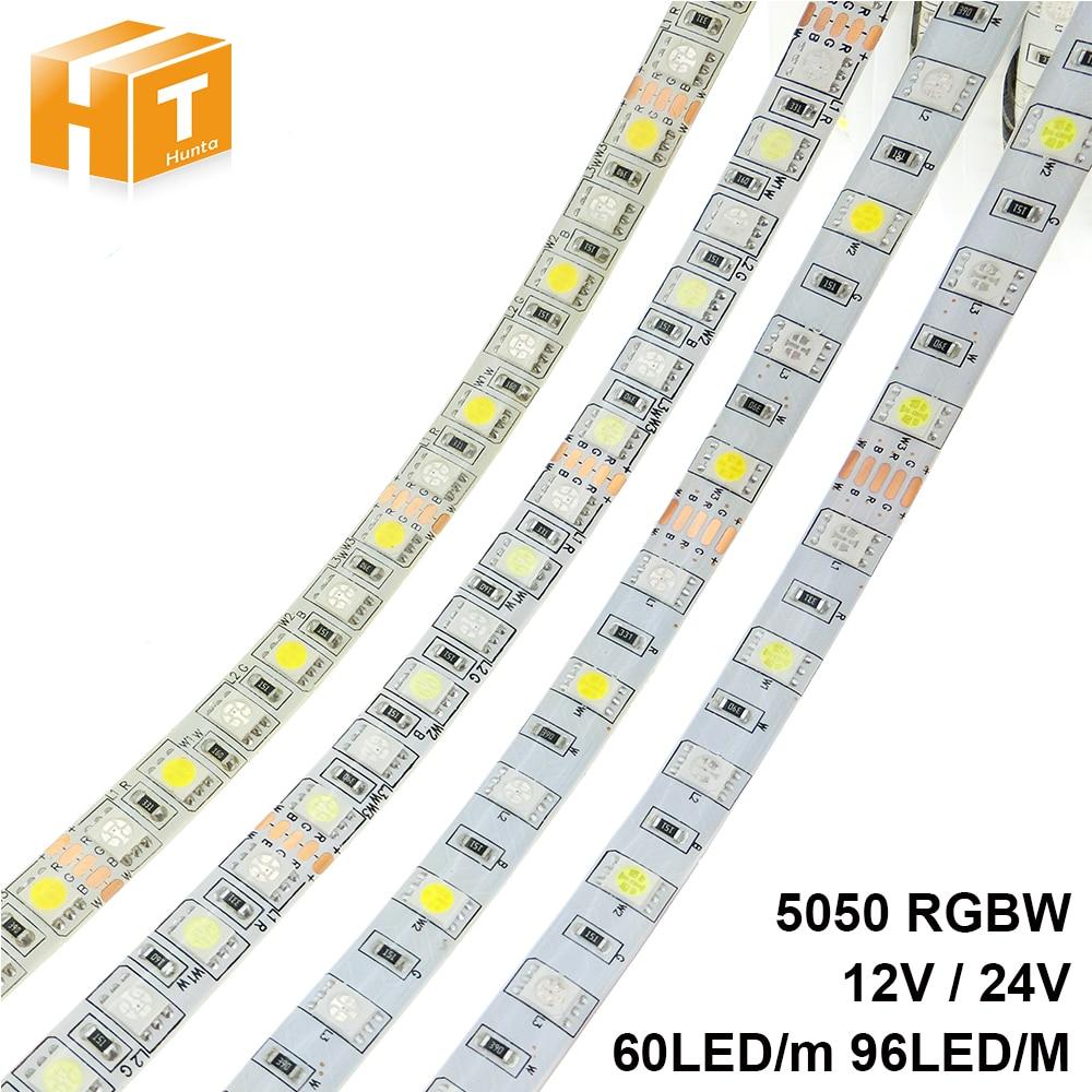LED Strip 5050 RGBW DC 12V / 24V Flexible LED Light RGB + White / RGB + Warm White 60 LED/m 96 LED/m 5m/lot.
