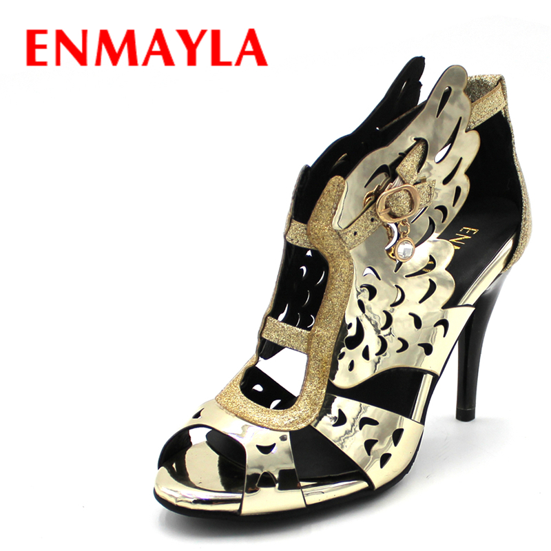 ENMAYLA Summer High Heels Shoes Woman Gladiator Sandals Women Pumps Fashion Open Toe Wings Sandals Gold Shoes Female enmayla womens high heels shoes summer ladies gladiator sandals women faux suede open toe rhinestone strappy sandals shoes woman