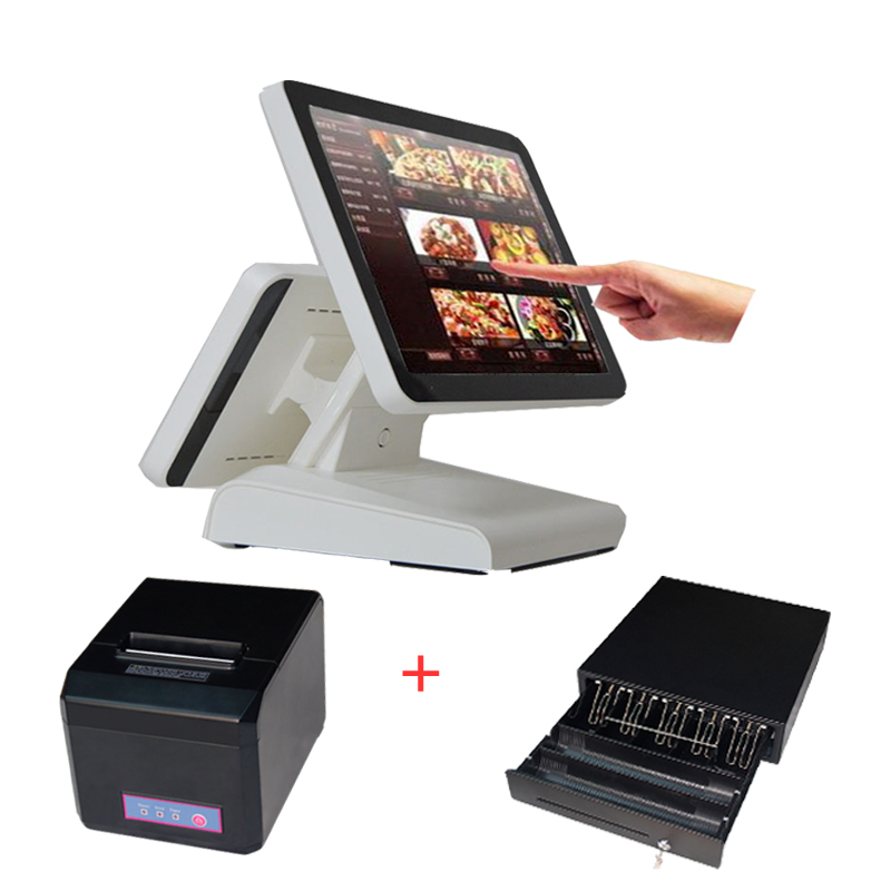 15 All in One LED touchscreen PC POS computers COMPOS 1619D with cash drawer 80mm higher dual display quality receipt printer computers